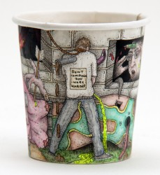 3. C&C Gallery - Paul westcombe - its the size of ones will which determines succes- Watercolour, Pen and Ink on used paper cup. 6cm x 4cm jpg
